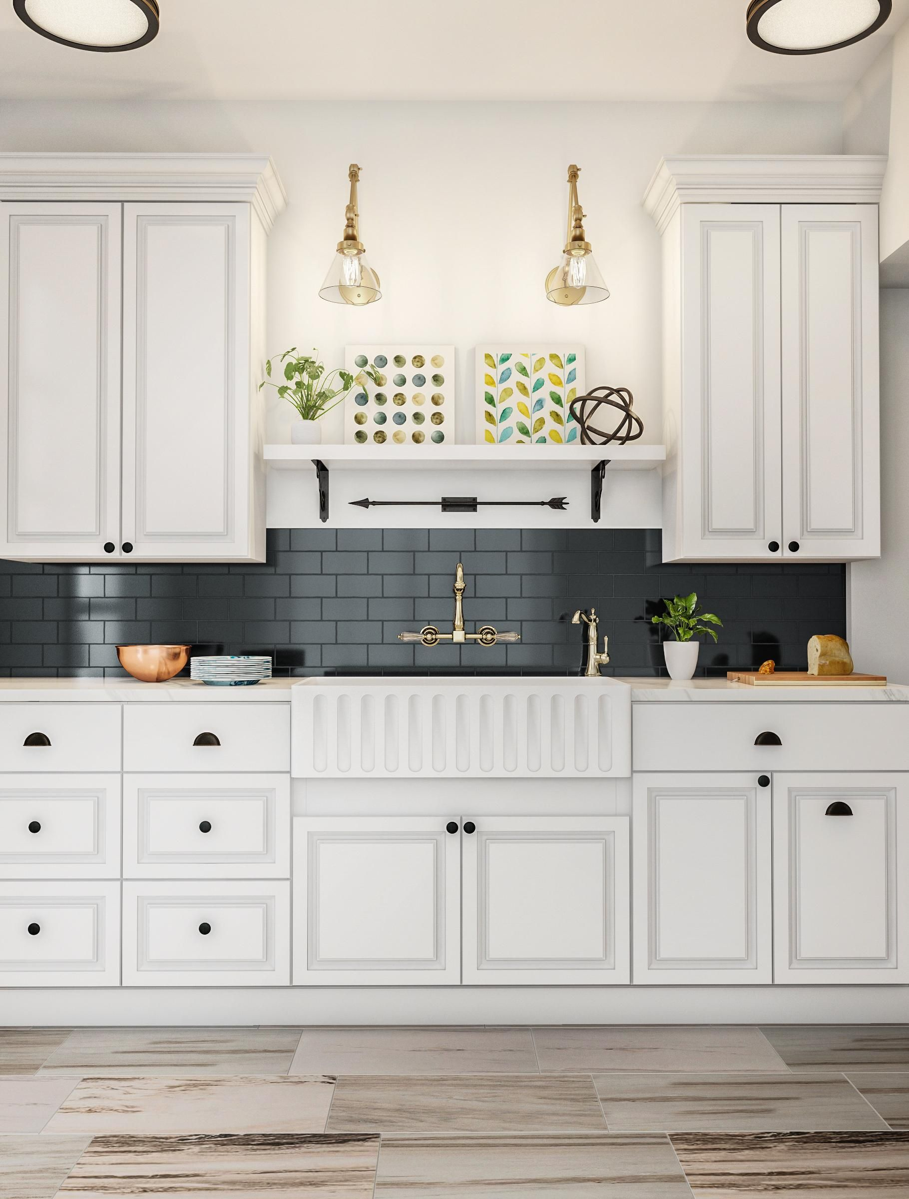 Classic White Kitchen With Black Country Kitchen Classic White Kitchen Kitchen Design