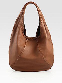 4d8a4947f880 Bottega Veneta - Cervo Large Leather Hobo Bag