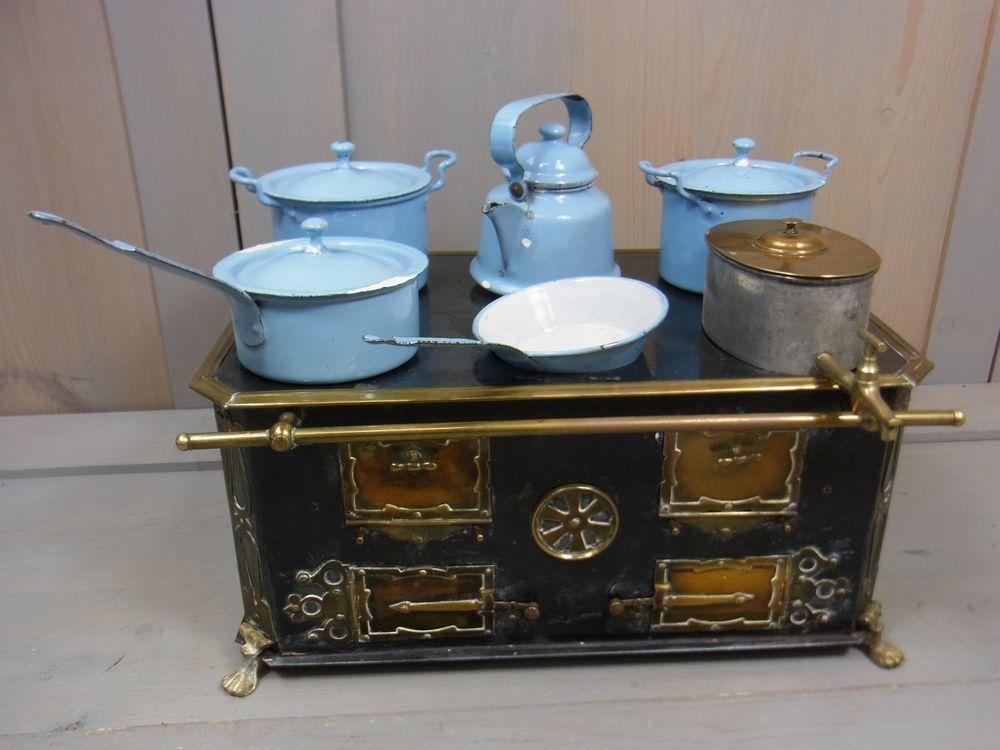 Küchenofen Antik ~ Antique 1800s victorian german tin toy steam stove w pots