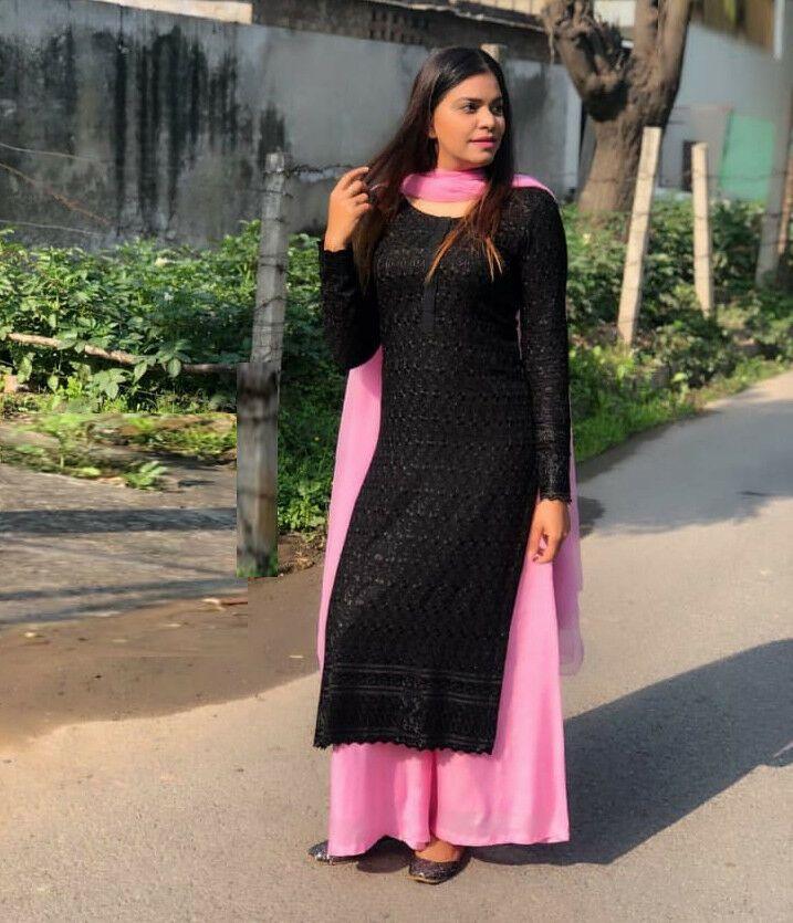Ihram Kids For Sale Dubai: Party Wear Embroidered Kurta Plazo Women's Black Kurta Top