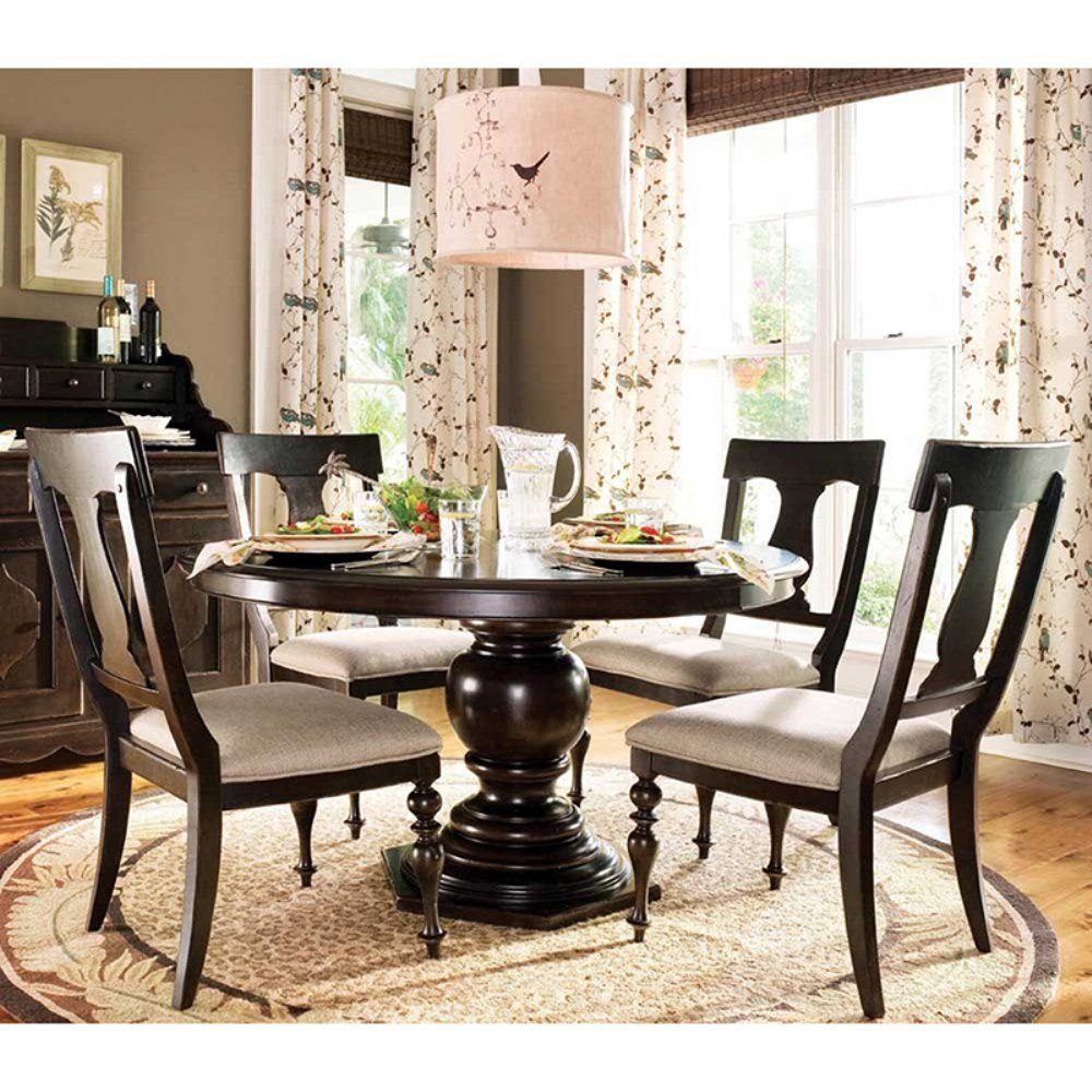 Paula Deen Home 5 Piece Round Pedestal Dining Table Set  Tobacco Alluring Paula Deen Dining Room Set Inspiration Design