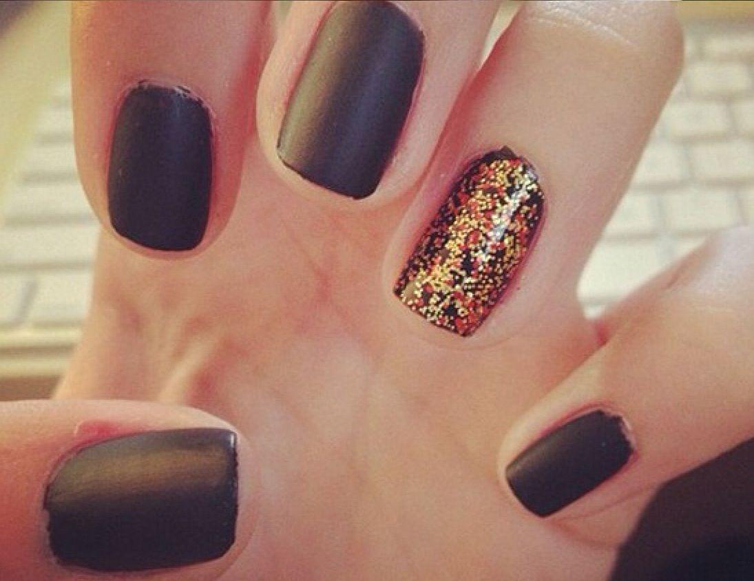 Dark brown nails with orange sparkles | Nails | Pinterest | Brown nail