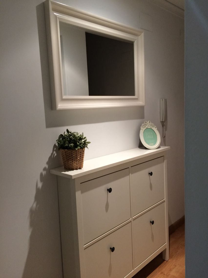 Zapatero hemnes ikea blanco espejo pasillo - Espejos recibidor ikea ...