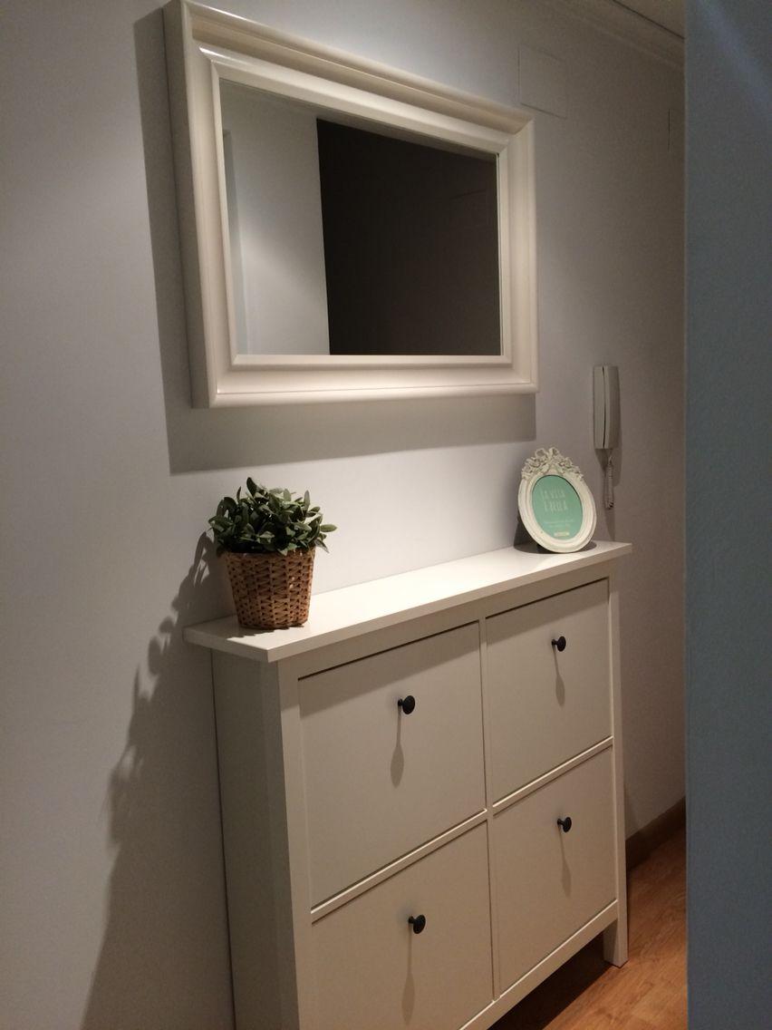 Zapatero Hemnes Ikea Blanco Espejo Pasillo Pasillos  # Muebles Recibidor Ikea