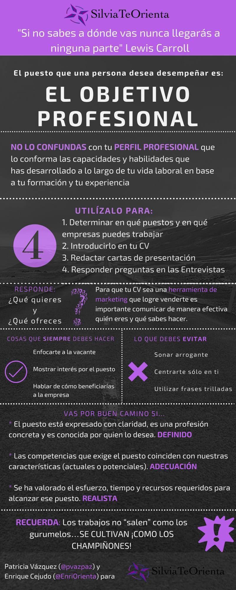 Qué es el Objetivo Profesional #infografia #infographic #empleo ...