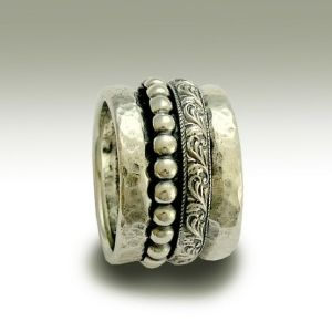 Sterling silver band with detailed silver spinners - The moon and the sky. by Lindy3