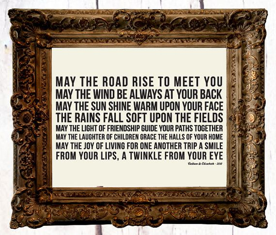 Irish Wedding Blessing Gifts: Irish Wedding Blessing: May The Road Rise To Meet You