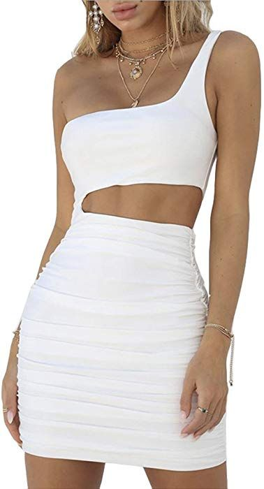 04dcab1abc8 Antopmen Women Sexy One Shoulder Cold Shoulder Sleeveless Cutout Club Dress  Bodycon Mini Dress (Small, White) at Amazon Women's Clothing store: