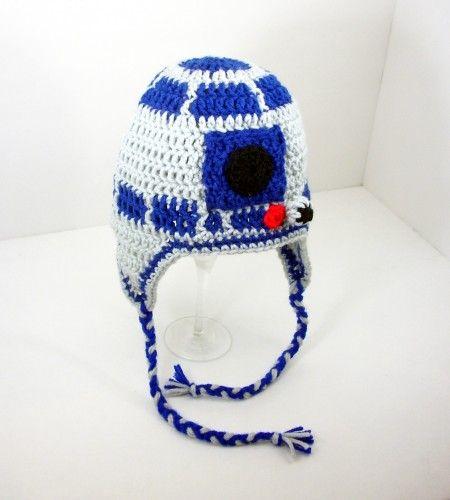 R2D2 Earflap Hat, Blue Gray Star Wars Beanie send size baby - adult ...