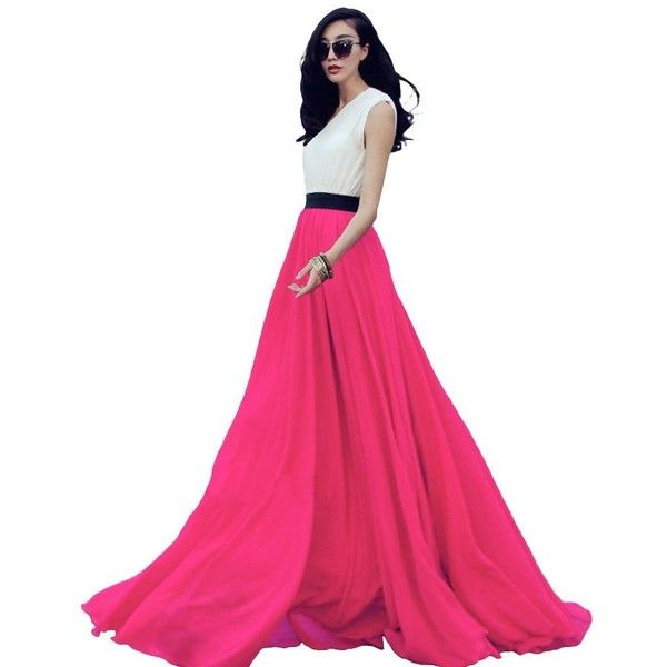 Women's Summer Chiffon Mopping Floor Length Big Hem Solid Beach Maxi... ($29) ❤ liked on Polyvore