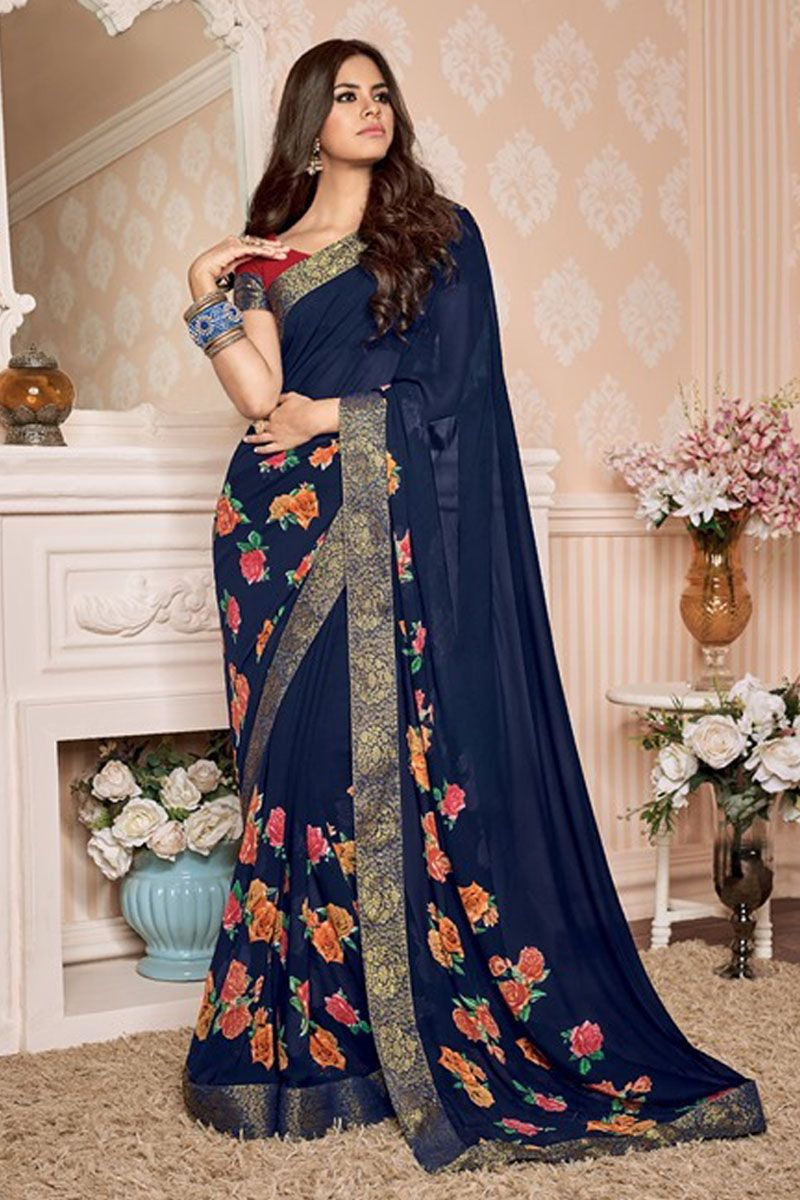 Navy Blue Daily Wear Half Plain And Half Rose Flower Print Saree With Blouse Material 34505 18494 Catalog No 4699 Www Traditional Outfits Casual Saree Saree