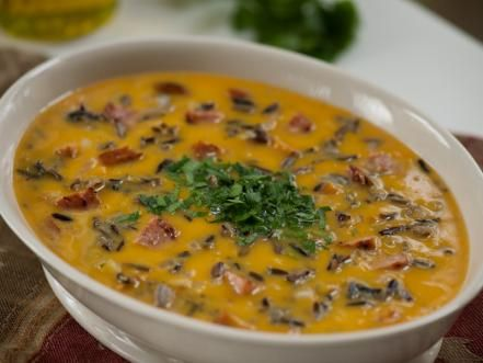 Thanksgiving soup recipes cooking channel mini grilled cheeses smoked sausage butternut squash and wild rice soup recipe emeril lagasse forumfinder Image collections