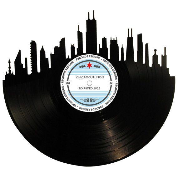 Chicago Skyline Records Redone Label Vinyl Record By Recordsredone Vinyl Record Art Record Wall Art