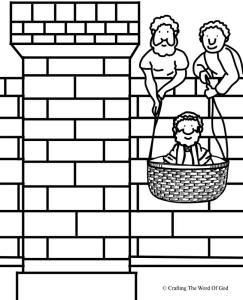 bible coloring pages acts 27 22 | Paul Lowered In A Basket Coloring Page | Acts | Bible ...