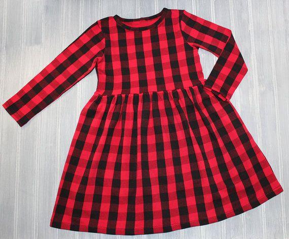 Girls Red Buffalo Plaid Dress Black And Red By Yetibearboutique Buffalo Plaid Dress Red Plaid Dress Plaid Dress