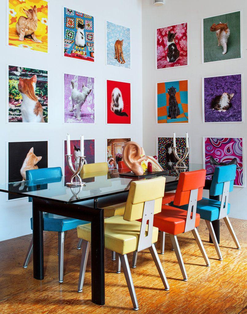 Colorful dining room tribeca new york city loft charles burkhalter arne svenson photo by trevor tondro