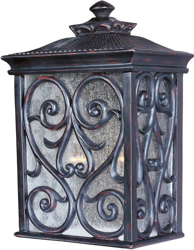 """Maxim 40127 2 Light 15"""" Tall Outdoor Wall Sconce from the Newbury VX Collection Oriental Bronze / Seedy Glass Outdoor Lighting Wall Sconces Outdoor"""