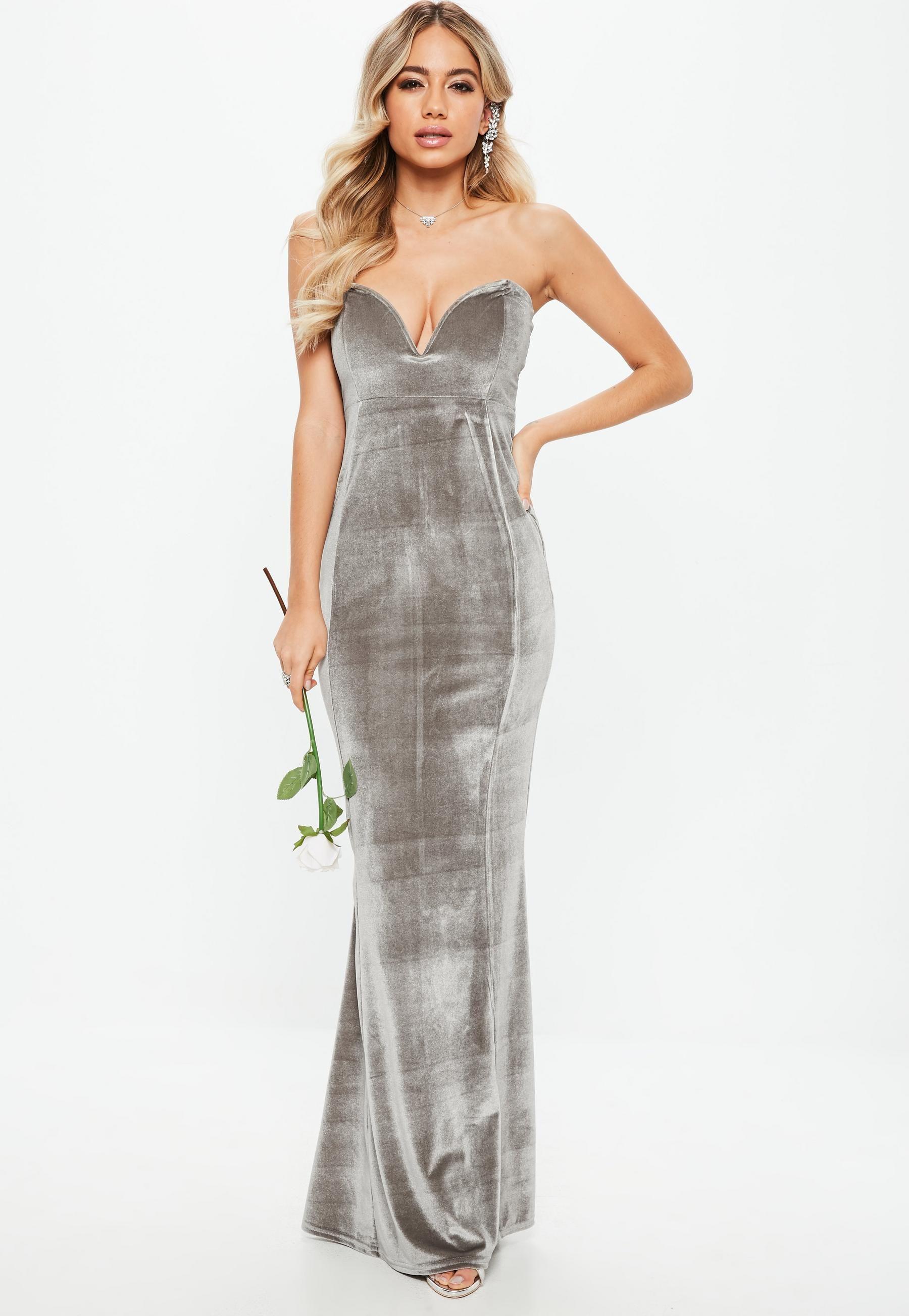Bridesmaid Gray Velvet Sweatheart Maxi Dress | Missguided |Beautiful ...