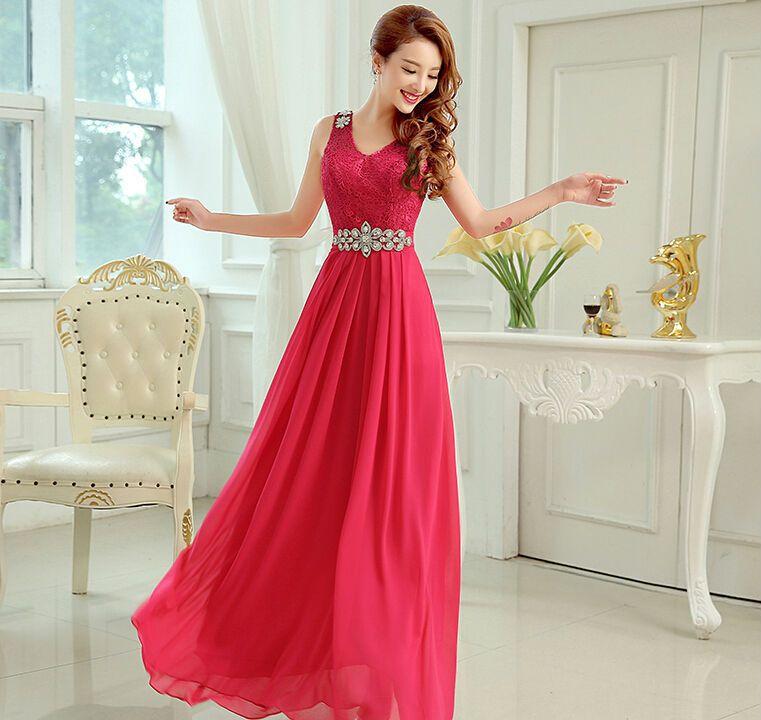 Aliexpress.com  Comprar 2015 últimos diseños moda Prom largo de la gasa una  línea V cuello rebordear vestido de noche vestidos fiesta vestidos cena  vestido ... cafef6767827