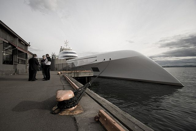"""M/Y """"A"""" in Oslo - Motor Yacht A is a luxury motor yacht designed by Philippe Starck and Martin Francis, and constructed by Blohm + Voss at the HDW shipyard in Kiel, Germany"""