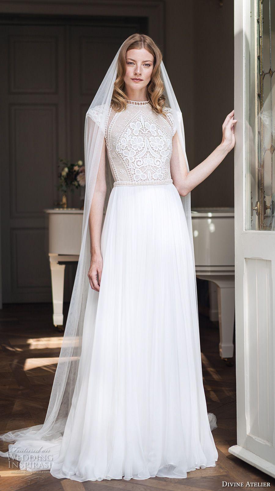 Divine atelier bridal cap sleeves round jewel neck heavily