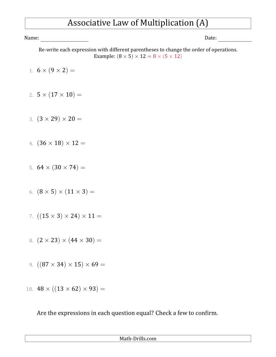 The Associative Law Of Multiplication Whole Numbers Only A Math Worksheet From The Algebra W Associative Law Properties Of Addition Word Problem Worksheets