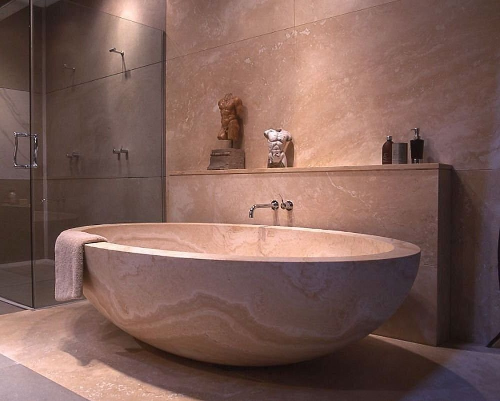 Japanese Bathroom Contemporary Design With Glass Shower Stall And Large Round Soaking Tub Japanese Bathroom Japanese Bathroom Design Bathtub Design
