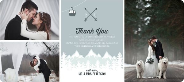 Scenic Winter Mountain Wedding Thank You Cards By Weddingpaperie Com