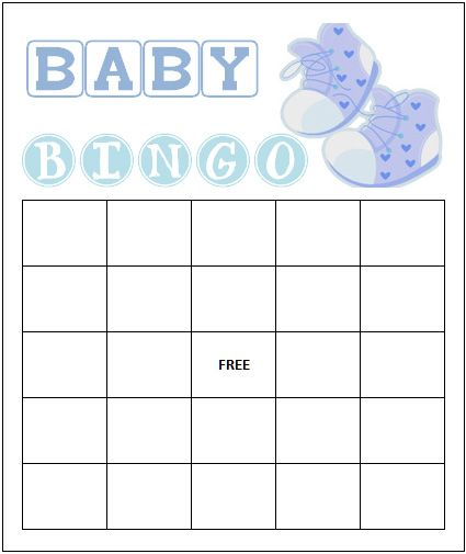 Free Blank Baby Shower Bingo Cards Designed For Boy Showers
