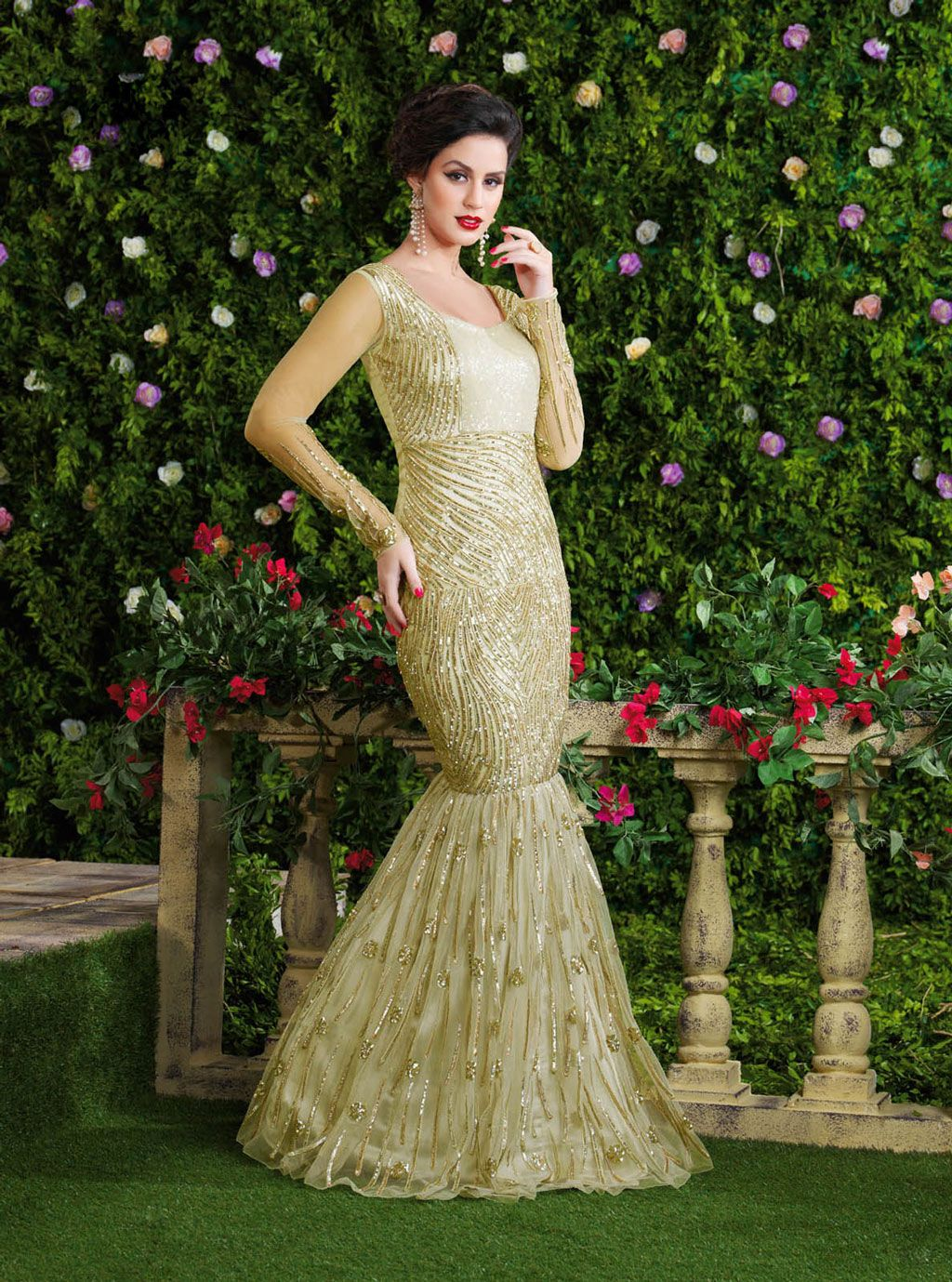 Beige Net Fish Cut Designer Gown 63485 Jwellsdresses And Many