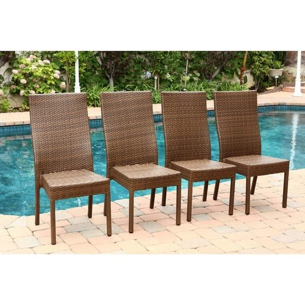 Abbyson Palermo Outdoor Wicker Dining Chairs (Set Of 4) (Brown), Patio  Furniture