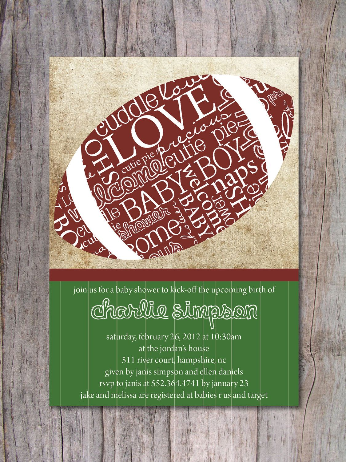 Football Baby Shower Invitation Sports Baby Shower 15 00 Via