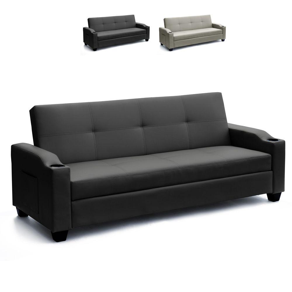 divano letto 2 posti in similpelle schienale reclinabile contenitore