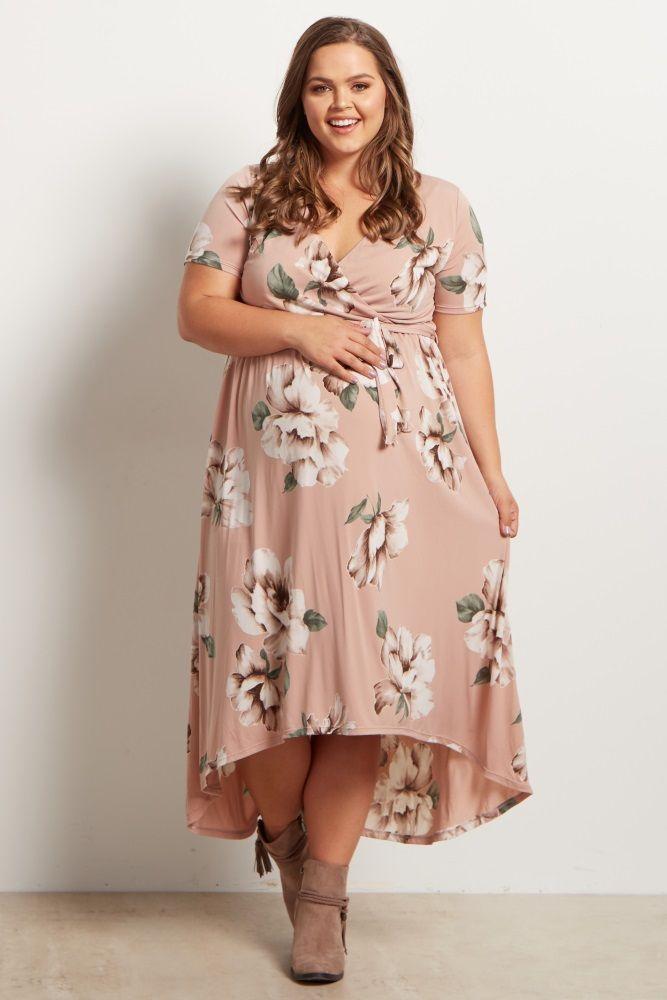 Light Pink Floral Hi Low Midi Plus Size Dress Plus Size Blush Dress Plus Size Maternity Dresses Maternity Midi Dress