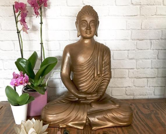 Buddha Sculpture, Buddha Statue, Bohemian Home, Boho Decor, Meditating Buddha, Buddha Gift, Large Bu #buddhadecor