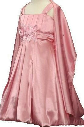 Satin Square A Line Flower Trimed Ruffles Designer Customized Junior Party Dress With Shawl