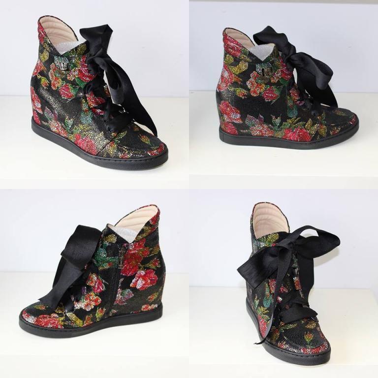 Baldowski Czarne Botki Sneakersy W Kwiaty Skora 5612726807 Oficjalne Archiwum Allegro Shoes Fashion Wedges
