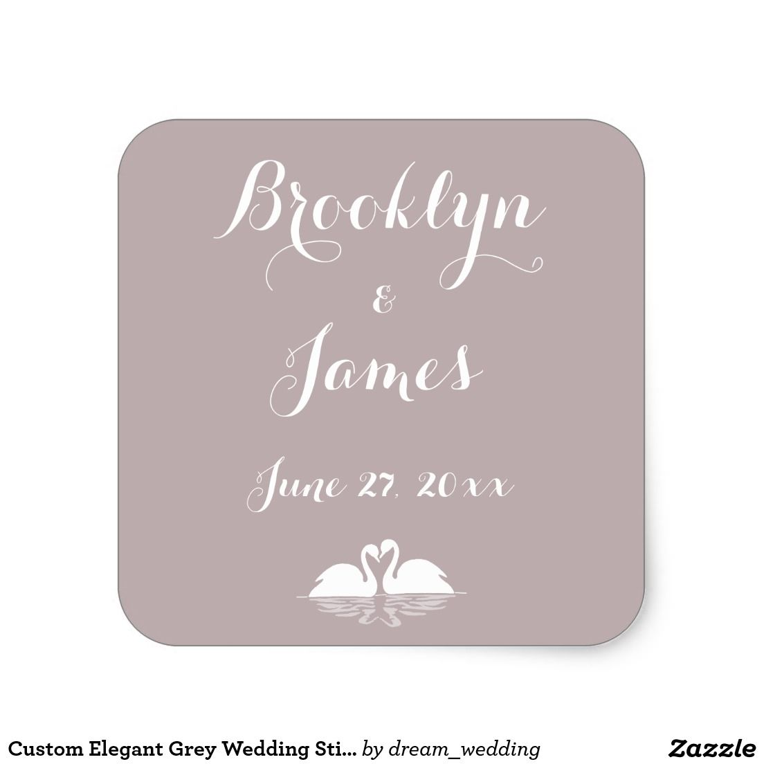 Custom Elegant Grey Wedding Stickers Swans
