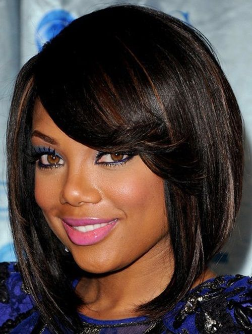 BEST MEDIUM HAIRSTYLE WITH BANGS LOOKING UPWARD FOR BLACK WOMEN ...