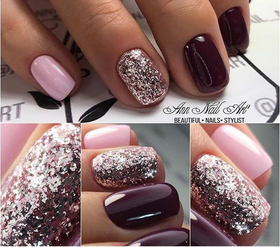Burgundy & Pink nails. Are you looking for autumn fall nail colors design  for this autumn? See our collection full of cute autumn fall nail matte  colors ... - 54 Autumn Fall Nail Colors Ideas You Will Love Nail Color Designs