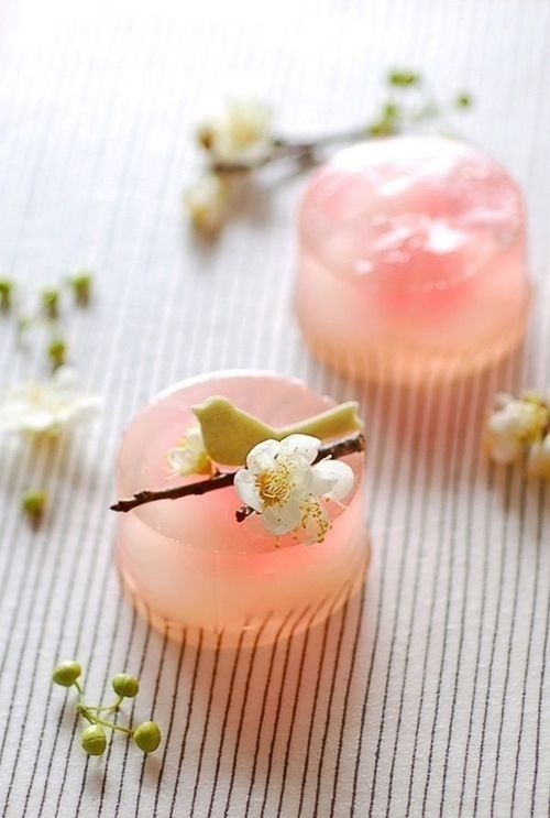Pale pink gelatin spring dessert.