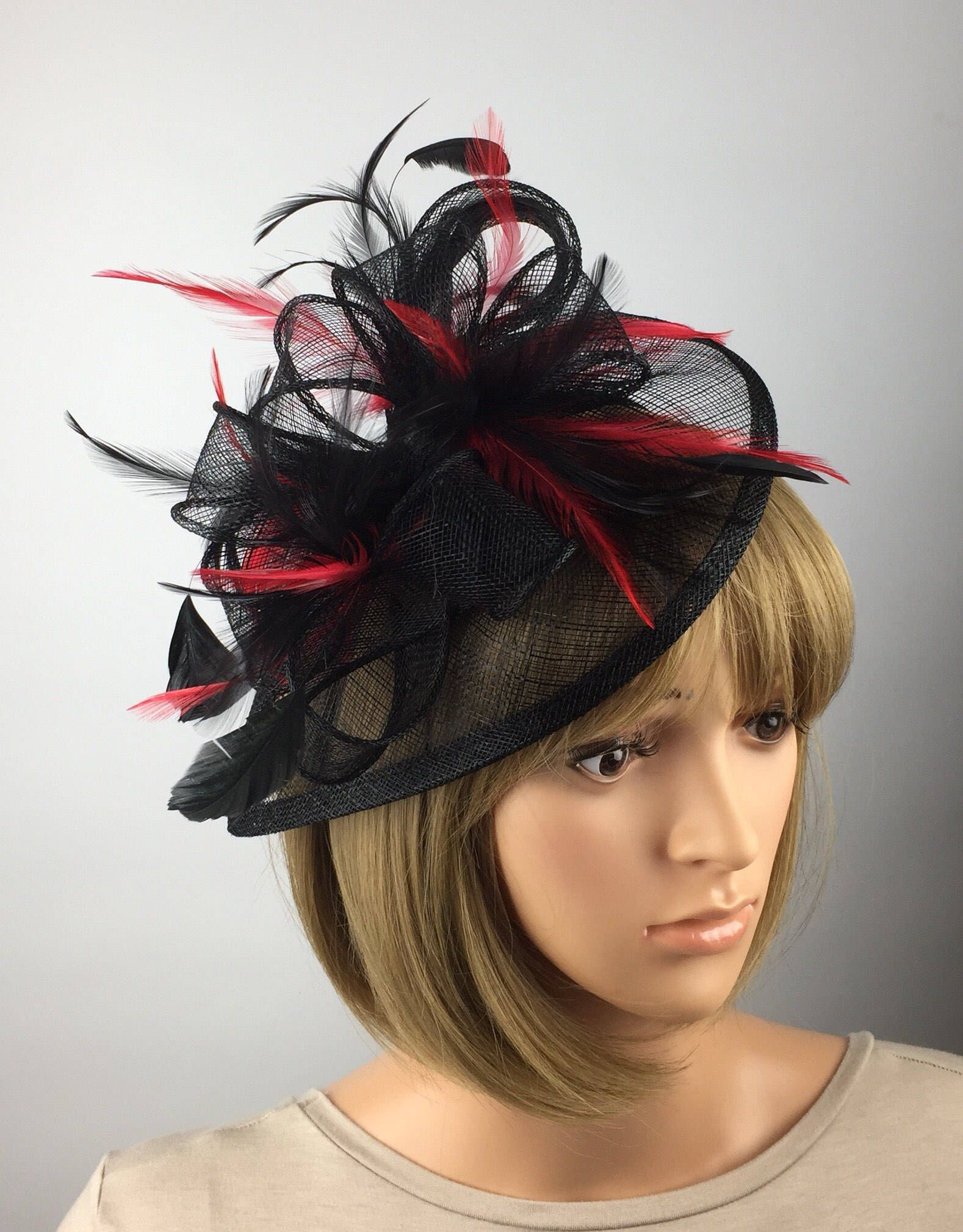 Black Feather Fascinator Hair Clip Ladies Day Races Party Wedding