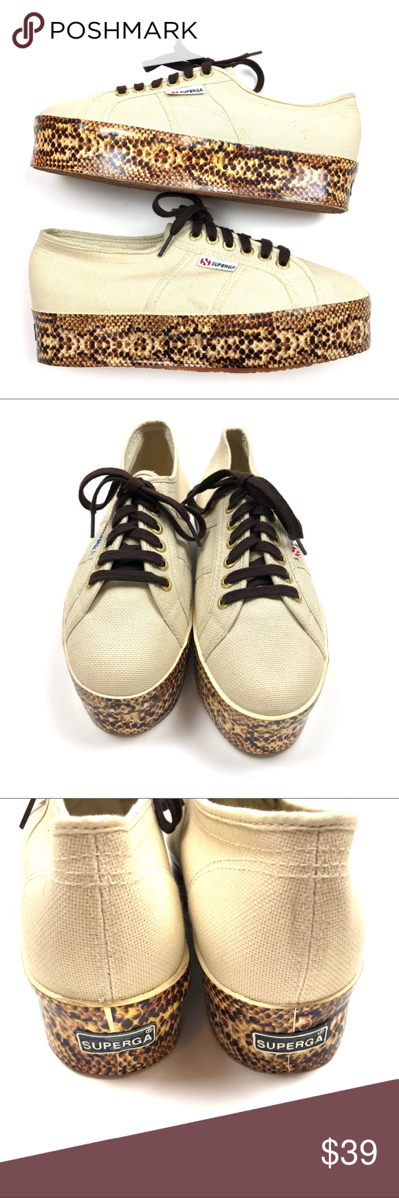 "Superga Viper Foxing Snakeskin Platform Sneakers 9 Superga 2790 Womens Ivory Viper Foxing Snakeskin Platform Sneakers Size 9  Platform is 2"" High  Excellent pre-owned condition. Superga Shoes Platforms"