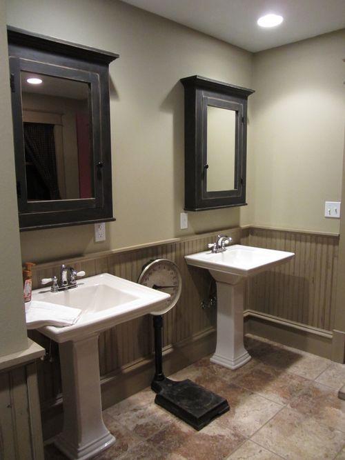 bathroom colors two tone walls tans bathroom farmhouse start with half