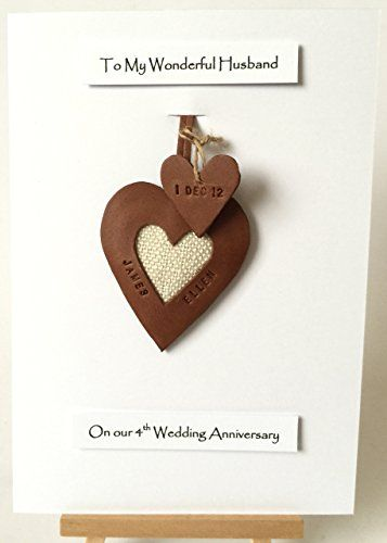 3rd 4th Wedding Anniversary Card Handmade Personalised Leather Heart Gift Made In Anniversary Cards Handmade 4th Wedding Anniversary Wedding Anniversary Cards