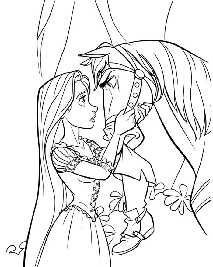 Princess Rapunzel Stared At Horse Coloring Pages