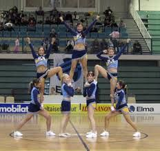 7 person pyramid.... I know we despise thigh stands, but this is cute and could be easily done when we are missing girls.