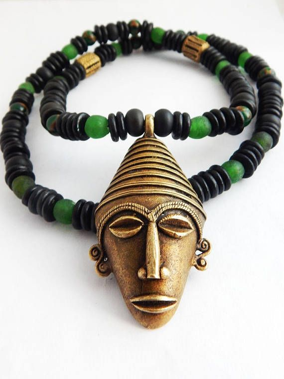 Men African Necklace Large African Mask Necklace Beaded Jewelry