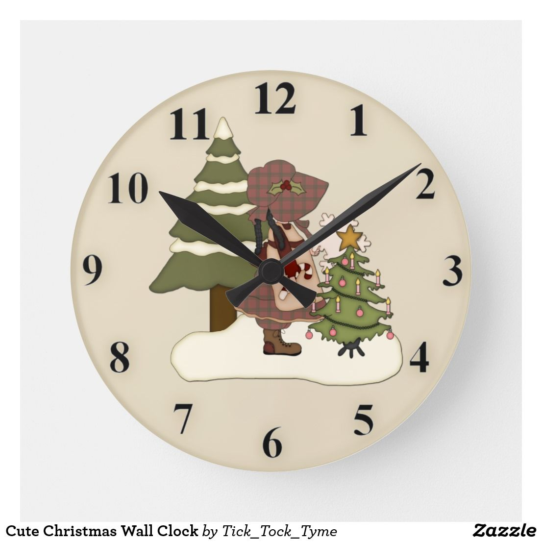 Cute Christmas Wall Clock Zazzle Com Clock Wall Clock White Elephant Gifts Funny
