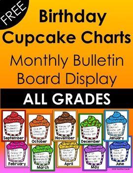 Birthday Month Printable Cupcake Charts #birthdaymonth